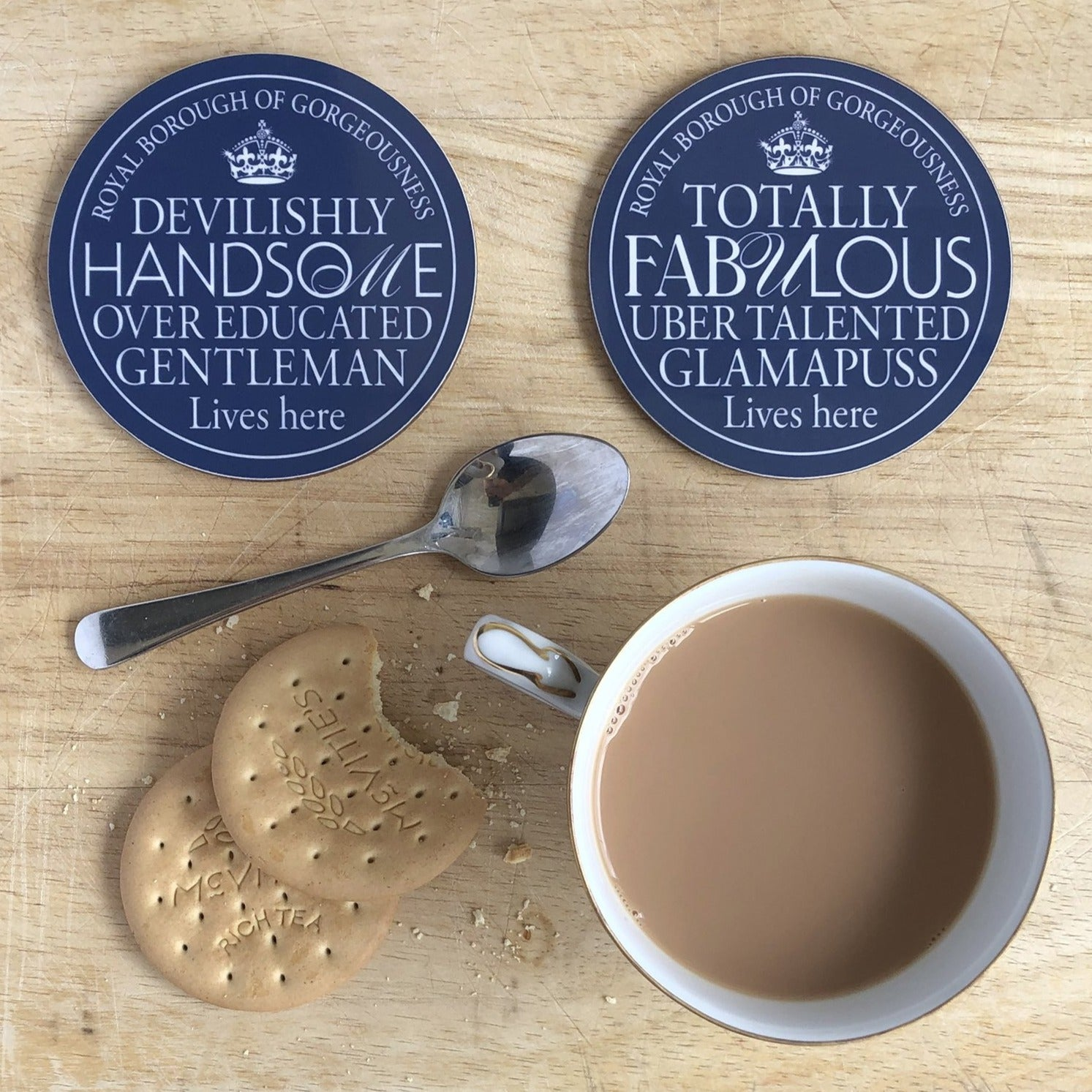 Handsome Gentleman & Fabulous Glamapuss Blue Plaque Coasters