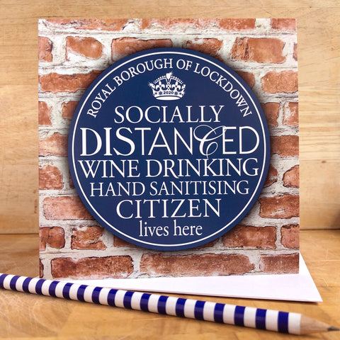 Socially Distanced Blue Plaque Card