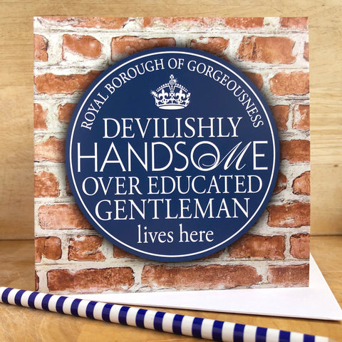 Handsome Gentleman Blue Plaque Card