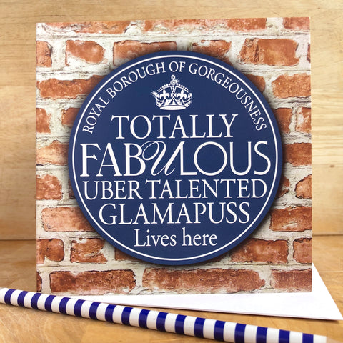 Fabulous Glamapuss Blue Plaque Card