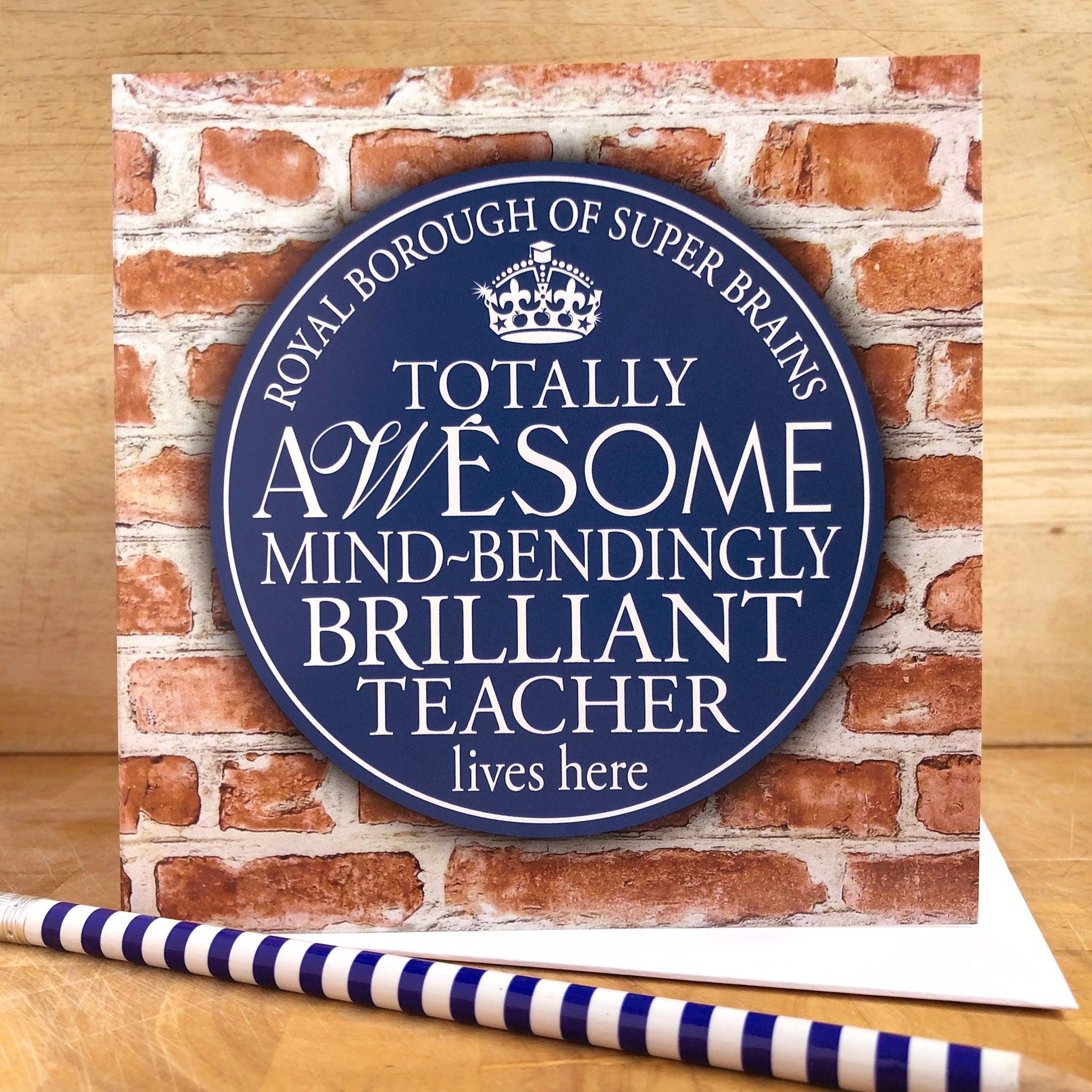 Awesome Teacher Blue Plaque Card