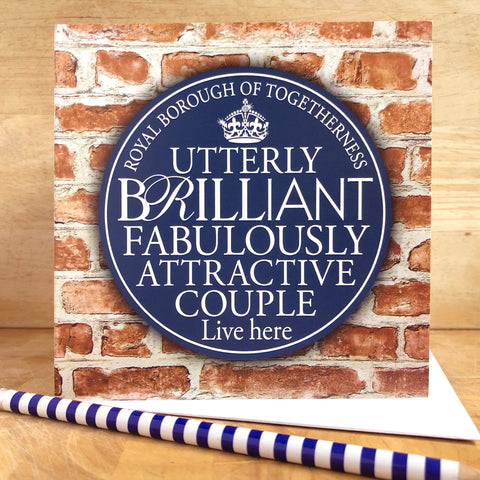 Brilliant Couple Blue Plaque Card