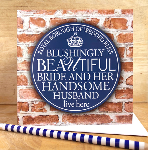 The Happy Couple Blue Plaque Card