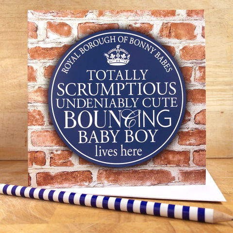 Baby Boy Blue Plaque Card