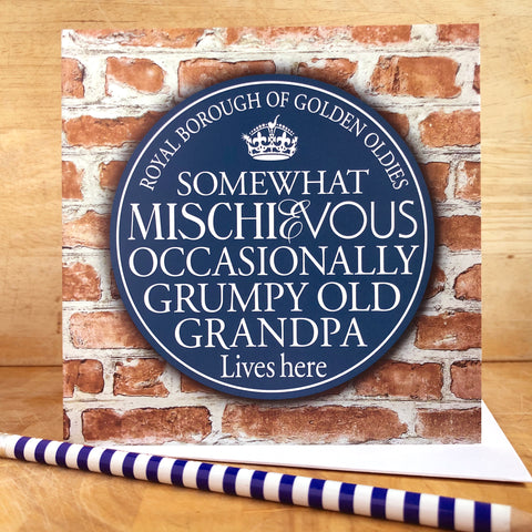Grumpy Grandpa Blue Plaque Card