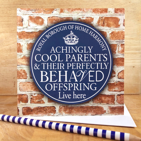 Cool Parents Blue Plaque Card