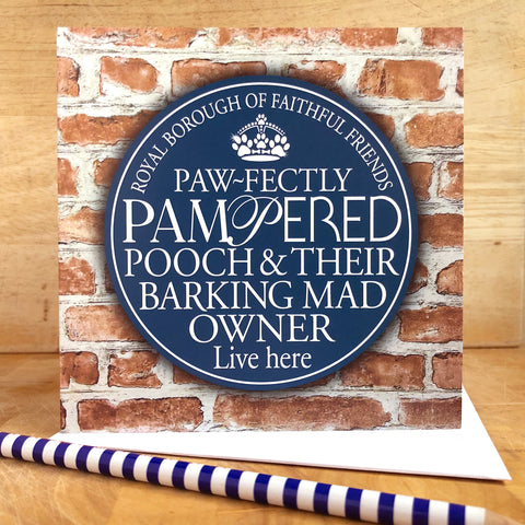 Barking Mad Owner Blue Plaque Card