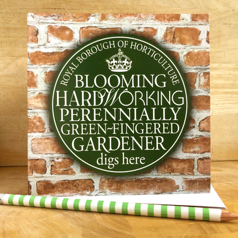 Green-fingered Gardener Blue Plaque Card