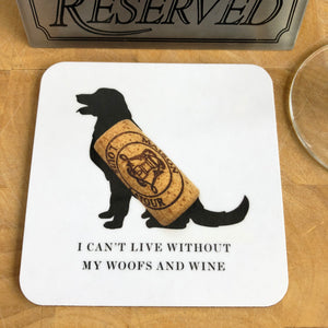 Woofs & Wine Retriever Coaster