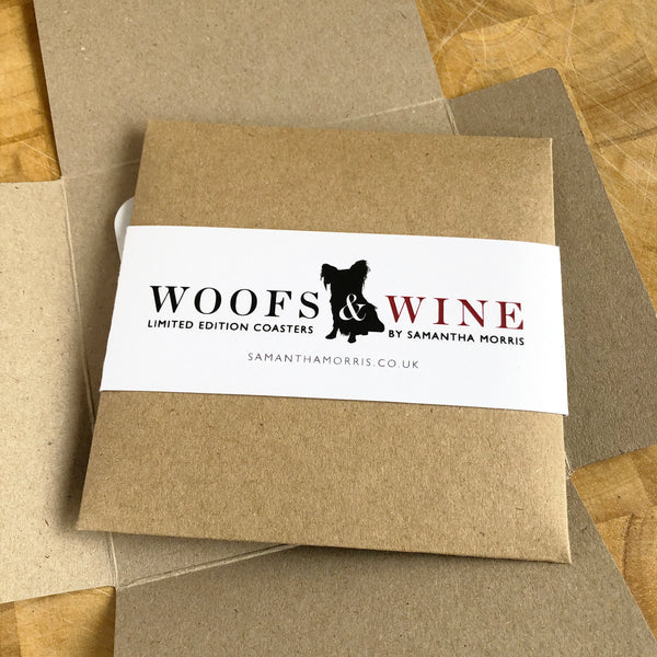 Woofs & Wine Drinking Alone Cat Coaster
