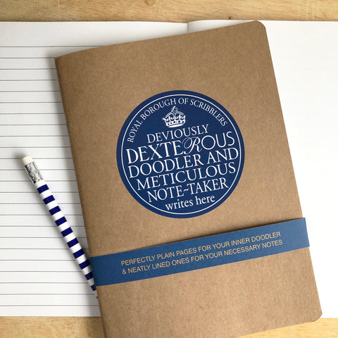 Dexterous Doodler Blue Plaque Notebook