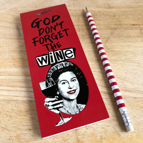 God Save the Wine Magnetic Shopping List Notepad