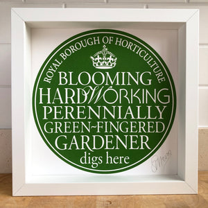 Green-Gingered Gardener Signed Blue Plaque Print