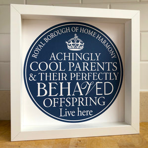 Cool Parents Signed Blue Plaque Print
