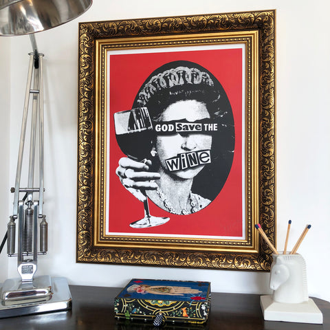 Punk God Save the Wine Signed Print