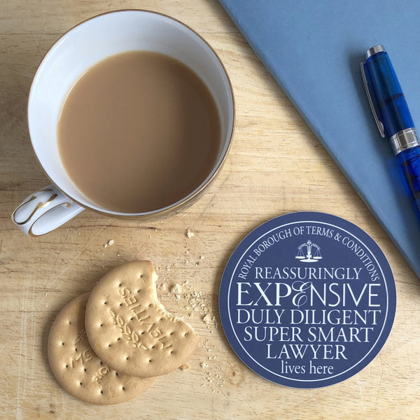 Super Smart Lawyer Blue Plaque Coaster