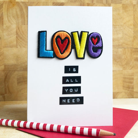 Love is All You Need Iron on Patch Card