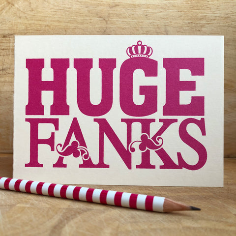 Pink Huge Fanks Card