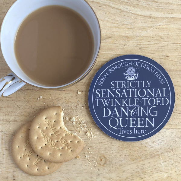 Dancing Queen Blue Plaque Coaster