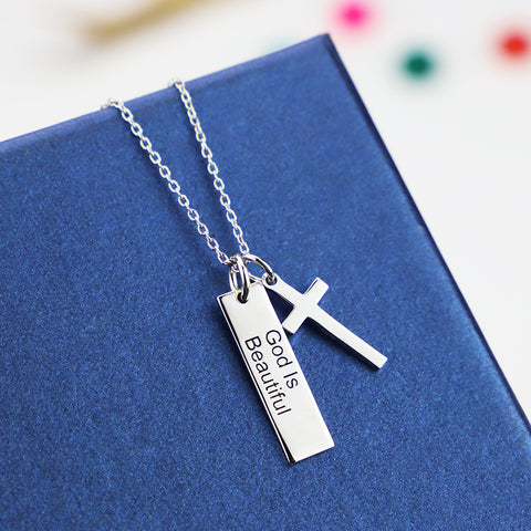 925 Silver God Is Beautiful Pendant - Christian Cross Necklace