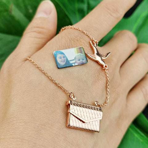 Personalized Photo Envelope Necklace With Bird