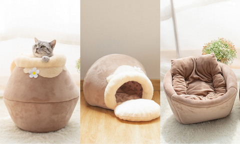 3 In 1 Transforming Cave and Bed Cat Cushion