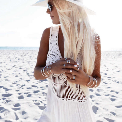 Bohemian Lace Long White Beach Dress Cocktail Cover Up