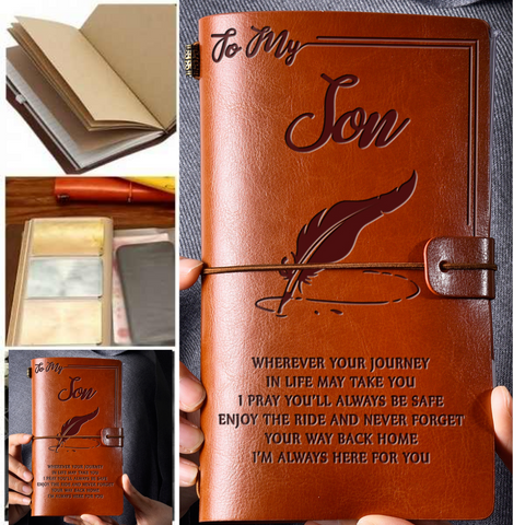 Leather Notebook Journal - To My Son