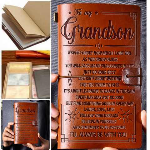 Leather Notebook Journal - To My Grandson
