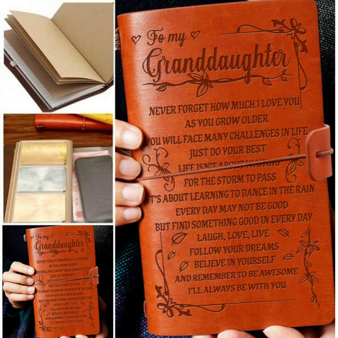Leather Notebook Journal - To My Granddaughter