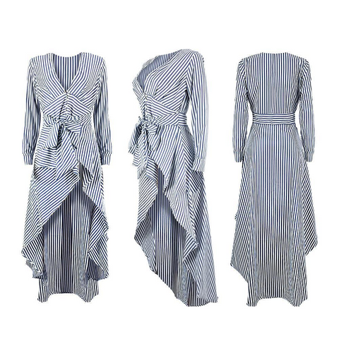 V-Neck Striped Long Sleeve Tops Tied Waist With Long Shirts