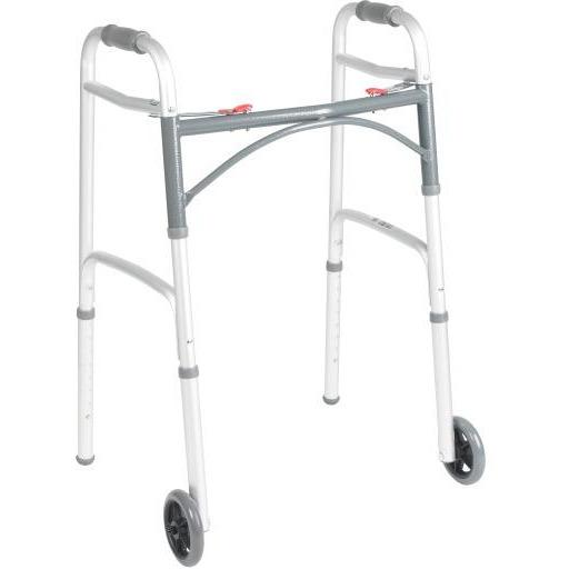"Deluxe Folding Walker, Two Button with 5"" Wheels - Home Health Store Inc"
