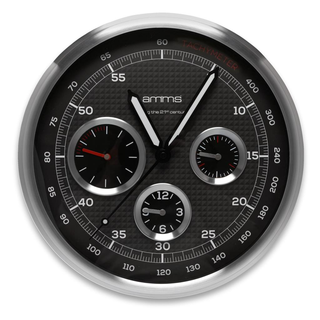 MT9837MD AMMS 30CM METAL WALL CLOCK SILVER/BLACK DIAL