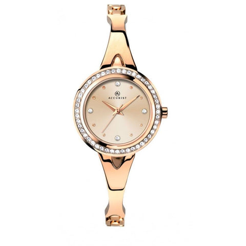 Accurist Women's Rose Gold Plated Bracelet Wristwatch 8011