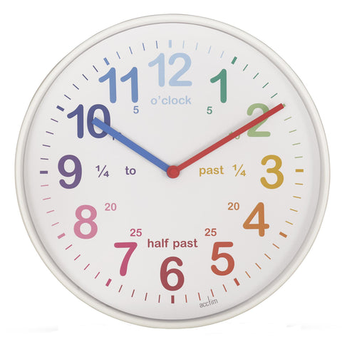 Acctim 'Tell the Time' 30cm White Analogue Wall Clock 22722