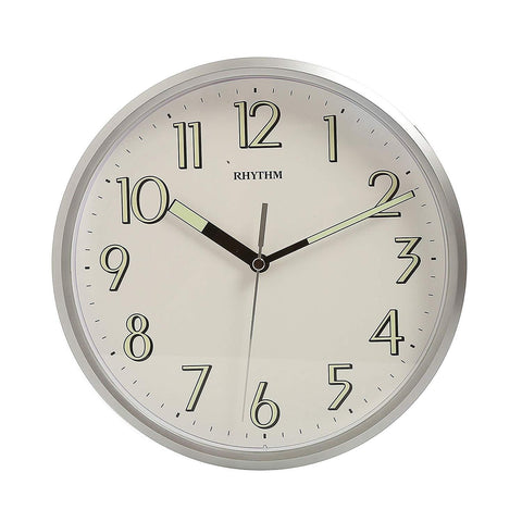 Rythmn Kitchen Wall Clock Silver Super Luminous hands (25cm) CMG727NR19