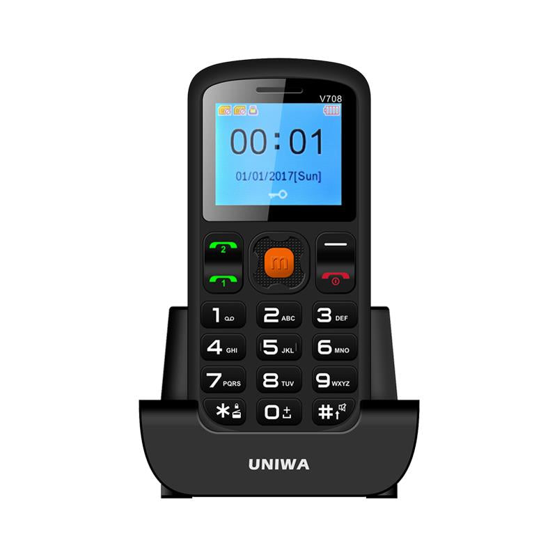 Uniwa V708 Big Button Mobile Phone For Elderly Dual SIM - SOS Mobile Phone