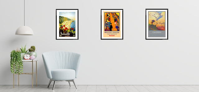 Room with  travel posters
