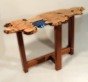 Live Edge side table with blue resin