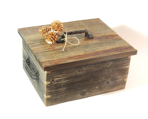 Rustic Wood Box with Metal Handles
