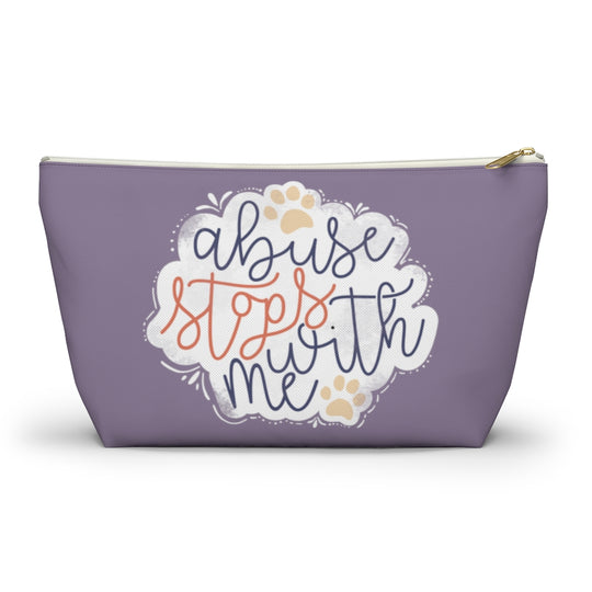 Animal Abuse Stops With Me Zipper Pouch