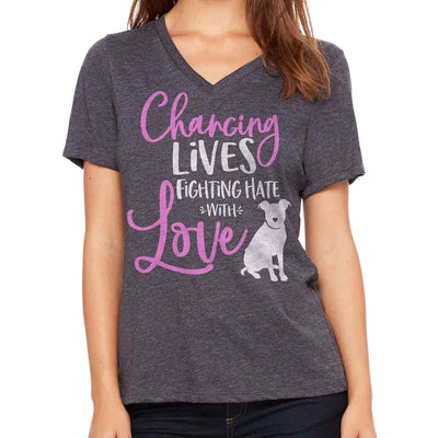 Changing Lives - Women's V-Neck - Charcoal Heather
