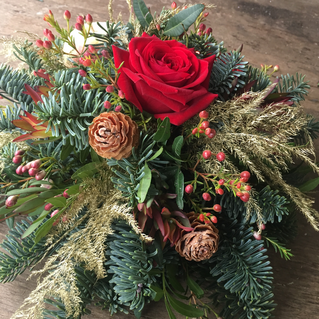 christmas, grave posy, sympathy, funeral flowers