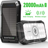 SunTecko BLACK Wireless Solar Power Bank 20000mAh