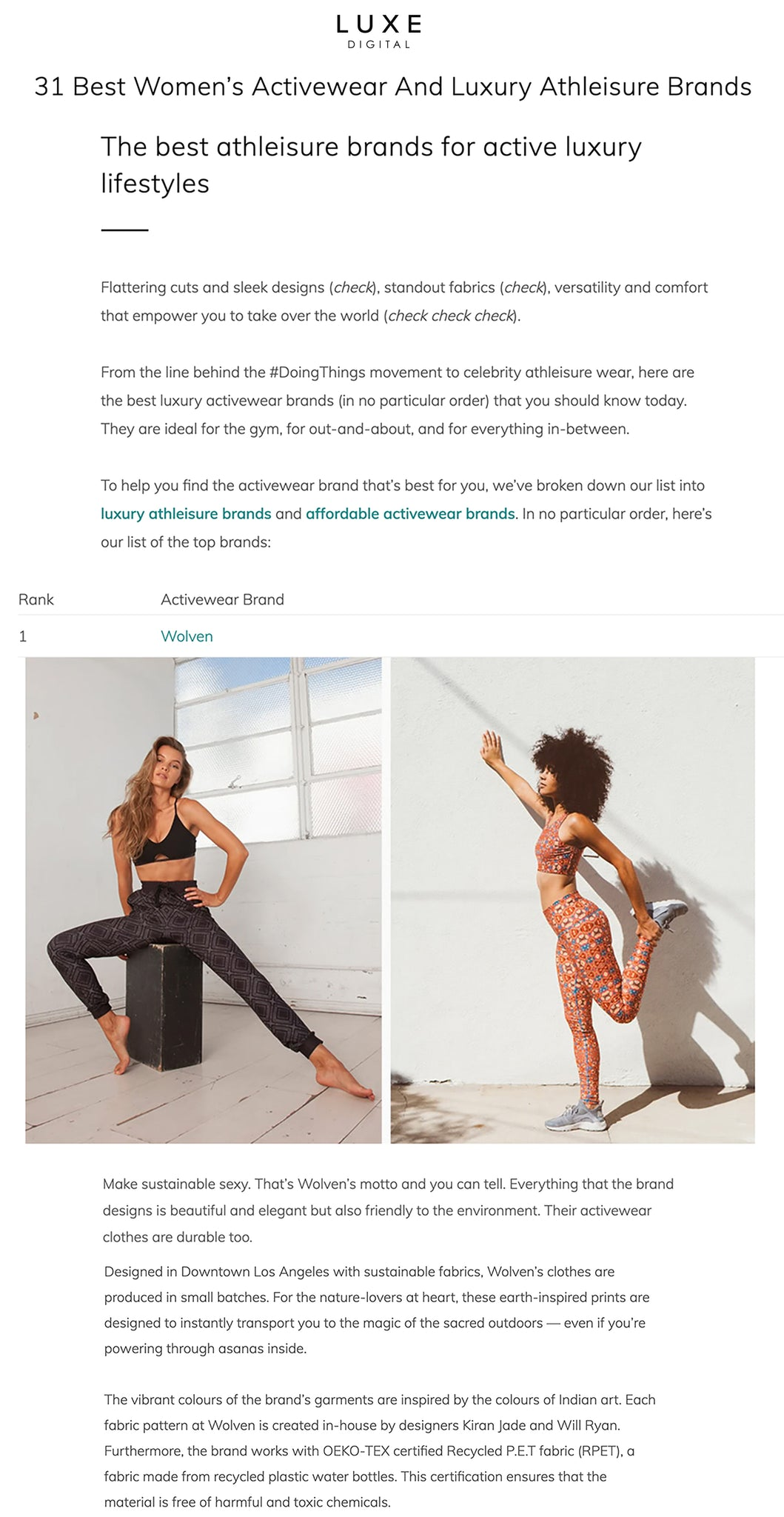 Wolven Luxe Digital Sustainable Athleisure Yoga Activewear