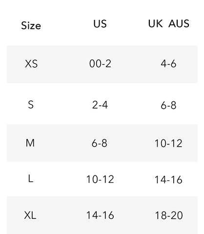 Wolven Size Chart