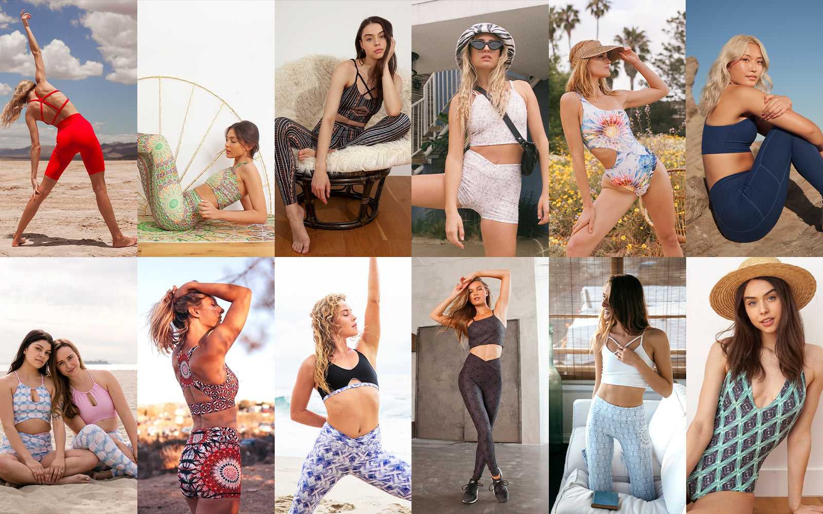 Zodiac signs as wolven pieces sustainable activewear swimwear yoga mandala trippy prints