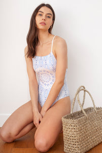 Wolven Aquarius Straight-Neck One Piece Swimsuit Sustainable Snakeskin One Piece Light Blue Mandala
