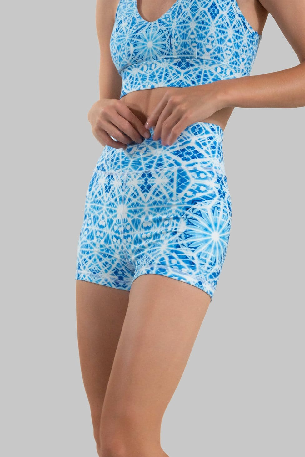 sustainable high waisted mandala blue yoga short