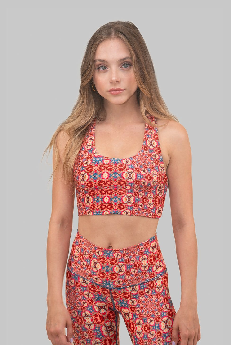 orange yellow sustainable yoga top